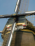 The famous Delphine/De Oostzijdse Molen windmill on the River Gein, near Abcoude, Utrecht, The Netherlands.. Paintings of this windmill were created many times by Piet Mondrian.