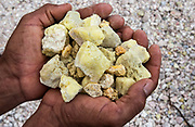 Sulphur Rocks from Mina de Azufre (Sulphur fulmeroles)<br /> inside crater of Sierra Negrá Volcano (second largest volcanic crater in the world)<br /> Isabela Island<br /> Galapagos Islands<br /> ECUADOR.  South America