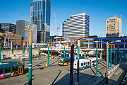Bus termianl and future home of the new Washington Convention Center, Seattle, Washington, USA  02/12/18