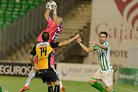 Sevilla, España, 15 de octubre de 2014: El portero Dani Mallo del Lugo detiene un balon durante el partido entre Real Betis y Lugo correspondiente a la jornada 5 de la Copa del Rey 2014-2015 celebrado en el estadio Benito Villamarain de Sevilla.