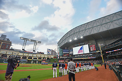 March 26, 2018 - Houston, TX, U.S. - HOUSTON, TX - MARCH 26: The Houston Astros stand for the National Anthem before the game between the Milwaukee Brewers and Houston Astros at Minute Maid Park on March 26, 2018 in Houston, Texas. (Photo by Ken Murray/Icon Sportswire) (Credit Image: © Ken Murray/Icon SMI via ZUMA Press)