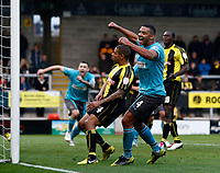 Football -FA Cup 1st Round-Burton Albion vs. Altrincham-Altrinchams Carl Rodgers celebrates the second goal, an own goal by Burto Albions Nathan Stanton  at the Pirelli Stadium.