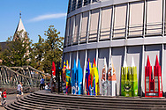 """sculpture project """"Dome-Cologne"""", colorful sculptures of the cathedral  in front of the Chocolate Museum in the Rheinau harbor, Cologne, Germany.<br /> <br /> Skulpturen-Projekt """"Dome-Cologne"""", bunte Dom-Skulpturen am Schokoladenmuseum im Rheinauhafen, Koeln, Deutschland.<br /> <br /> <br /> ***HINWEIS ZU DEN ABGEBILDETEN KUNSTWERKEN UND EXPONATEN - RECHTE DRITTER SIND VOM NUTZER ZU KLAEREN***PLEASE NOTE: THIRD PARTY RIGHTS OF THE SHOWN WORK OF ART AND EXHIBIT MUST BE CHECKED BY THE USER***"""