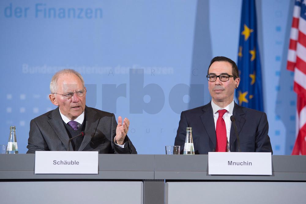 """16 MAR 2017, BERLIN/GERMANY:<br /> Wolfgang Schaeuble (L), CDU, Bundesfinanzminister, und Steven Terner """"Steve"""" Mnuchin (R), Fianzminister der Vereinigten Staaten von Amerika, USA, waehrend einer Pressekonferenz nach einem gemeinsamen Treffen, Bundesministerium der Finanzen<br /> IMAGE: 20170316-03-001<br /> KEYWORDS: Wolfgang Schäuble, Steve Mnuchin, Treasury secretary"""
