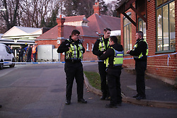 © Licensed to London News Pictures. 04/01/2019. Horsley, UK. The scene where a man has been stabbed to death on at train at Horsley station in Surrey. A murder investigation has been launched after the man was attacked while on board the 12.58pm train service travelling between Guildford and London Waterloo..  Photo credit: Peter Macdiarmid/LNP