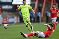 Jorge Teixeira of Charlton Athletic intercepts Anthony Knockaert of Brighton & Hove Albion. Skybet football league championship match, Charlton Athletic v Brighton & Hove Albion at The Valley  in London on Saturday 23rd April 2016.<br /> pic by John Patrick Fletcher, Andrew Orchard sports photography.