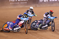 Emil Sayfutdinov and Fredrik Lindgren battle it out in the firrt turn during the 2019 Adrian Flux British FIM Speedway Grand Prix at the Principality Stadium, Cardiff, Wales on 21 September 2019.