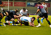 Sale Sharks lock Cobus Wiese is tackled just short of the try line during The Premiership Rugby Cup Final at The AJ Bell Stadium, Eccles, Greater Manchester, United Kingdom, Monday, September 21, 2020. (Steve Flynn/Image of Sport)