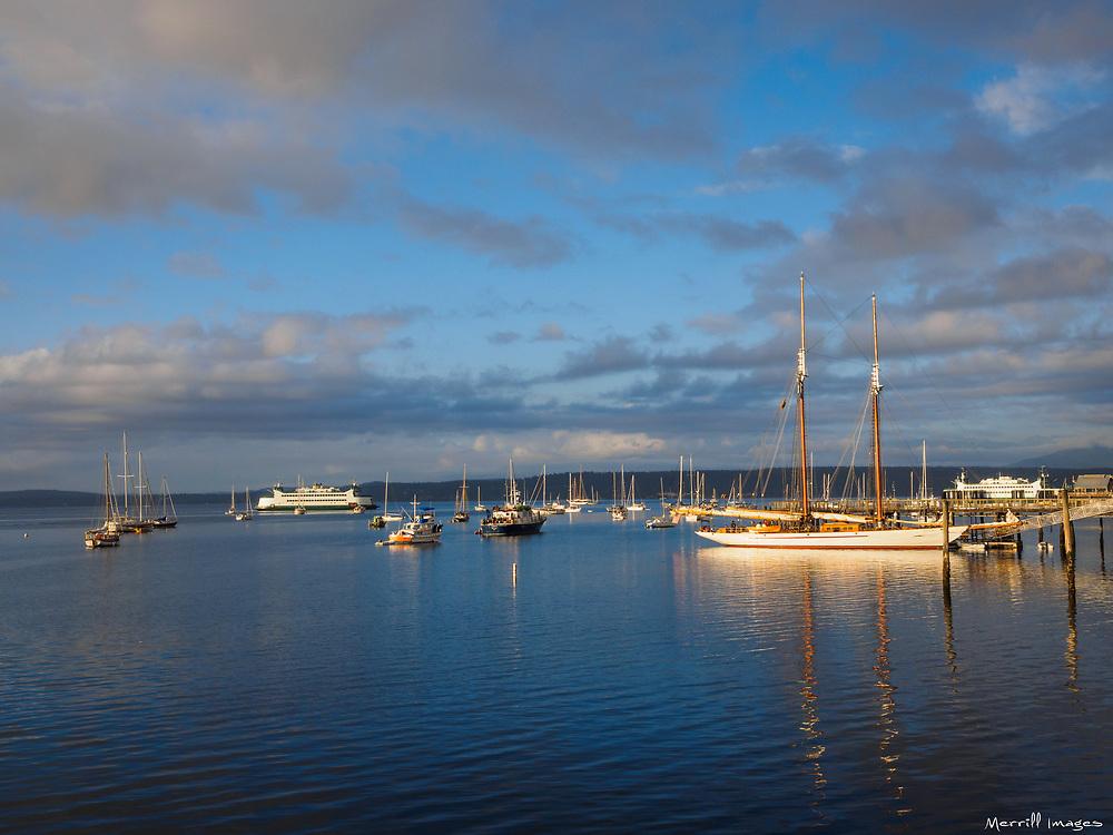 North America, United States, Washington, Port Townsend. Sailboats at a pier and harbor