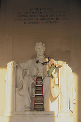 Cleaning Lincoln Statue