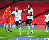Football - 2019 / 2020 season - International Friendly - England vs Wales - Wembley Stadium.<br /> <br /> Dominic Calvert - Lewin of England celebrates scoring his first half goal with Danny Ings<br /> <br /> COLORSPORT/ANDREW COWIE