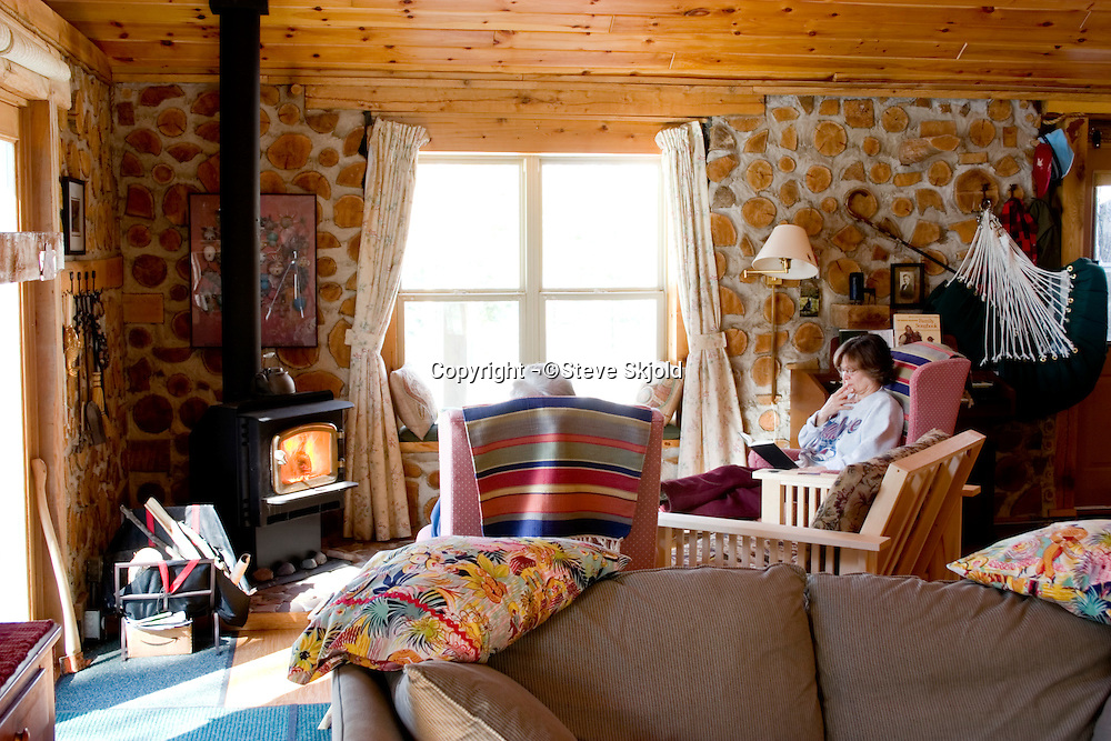 Peaceful moment reading in a gorgeous lodge deep in the woods.  Cable Wisconsin USA