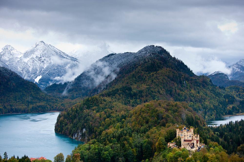 Schloss Hohenschwangau castle in the Bavarian Alps, Germany