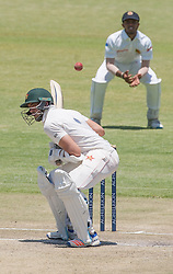 Zimbabwe captain and batsman Graeme Cremer ducks a short ball in action during the third day of the 100th test match for Zimbabwe played in a series of two matches with Sri Lanka at Harare Sports Club 31 October 2016.