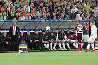Shinji Kagawa (C) of Manchester United sits on the bench the UEFA Champions League, Group H, soccer match against CFR Cluj, at Dr. Constantin Radulescu Stadium in Cluj-Napoca, Romania, 2 October 2012.