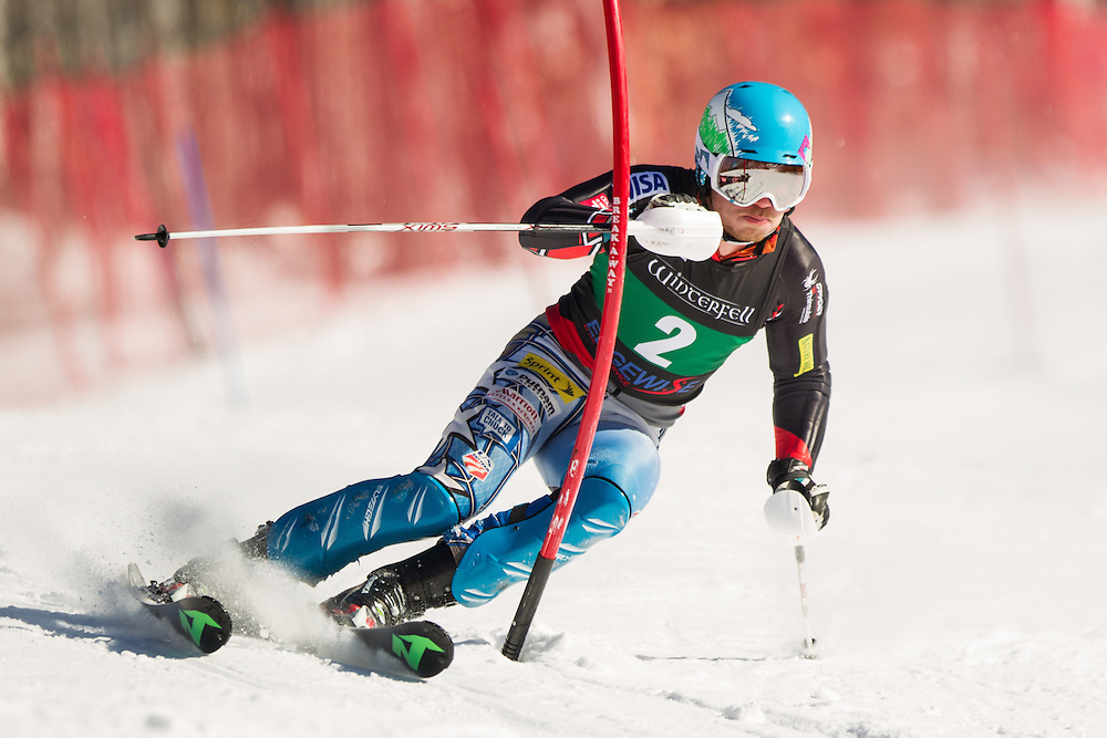 Sean Higgins, skis during the second run of the men's slalom at the Dartmouth Carnival at Dartmouth Skiway on February 8, 2014 in Lyme, NH. (Dustin Satloff/EISA)