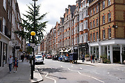 Marylebone High Street on 10th August 2021 in London, United Kingdom. Marylebone High Street is a grand and upmarket shopping street in London.
