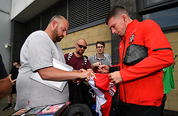 "Southampton's Pierre-Emile Hojbjerg signing a shirt during a pre season friendly match at Pride Park, Derby. PRESS ASSOCIATION Photo. Picture date: Saturday July 21, 2018. Photo credit should read: Anthony Devlin/PA Wire. EDITORIAL USE ONLY No use with unauthorised audio, video, data, fixture lists, club/league logos or ""live"" services. Online in-match use limited to 75 images, no video emulation. No use in betting, games or single club/league/player publications."