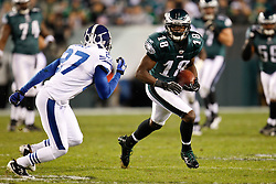 Philadelphia Eagles wide receiver Jeremy Maclin #18 carries the ball during the NFL Game between the Indianapolis Colts and the Philadelphia Eagles. The Eagles won 26-24 at Lincoln Financial Field in Philadelphia, Pennsylvania on Sunday November 7th 2010. (Photo By Brian Garfinkel)