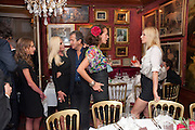 ALLEGRA VERSACE; DONATELLA VERSACE; MARIO TESTINO; ANDREA DELLAL GWYNETH PALTROW, , Dinner hosted by Elizabeth Saltzman for Mario Testino and Kate Moss. Mark's Club. London. 5 June 2010. -DO NOT ARCHIVE-© Copyright Photograph by Dafydd Jones. 248 Clapham Rd. London SW9 0PZ. Tel 0207 820 0771. www.dafjones.com.