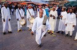 Men playing drums and performing a traditional dance in the Jemaa el Fna, Marrakech, Morocco, North Africa<br /> <br /> (c) Andrew Wilson | Edinburgh Elite media