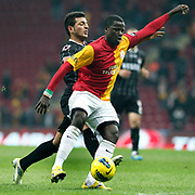 Galatasaray's Emmanuel Eboue (R) during their Turkish Super League soccer match Galatasaray between Manisaspor at the TT Arena at Seyrantepe in Istanbul Turkey on Wednesday, 21 December 2011. Photo by TURKPIX