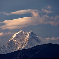 The Nilgiri peaks rise a as part of the Annapurna massif in th Nepal Himalaya.