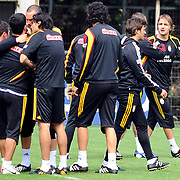 Galatasaray's players Arda TURAN (2ndL) Caner ERKIN (R) during their training session at the Jupp Derwall training center, Tuesday, April 20, 2010. Photo by TURKPIX