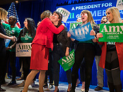 03 FEBRUARY 2020 - DES MOINES, IOWA: US Senator AMY KLOBUCHAR (D-MN) takes the stage during her caucus night party at the downtown Marriott Hotel in Des Moines. The party was her last Iowa appearance of the primary season. Iowans made the first presidential selection picks of the 2020 election campaign with the Iowa caucuses Monday night.    PHOTO BY JACK KURTZ
