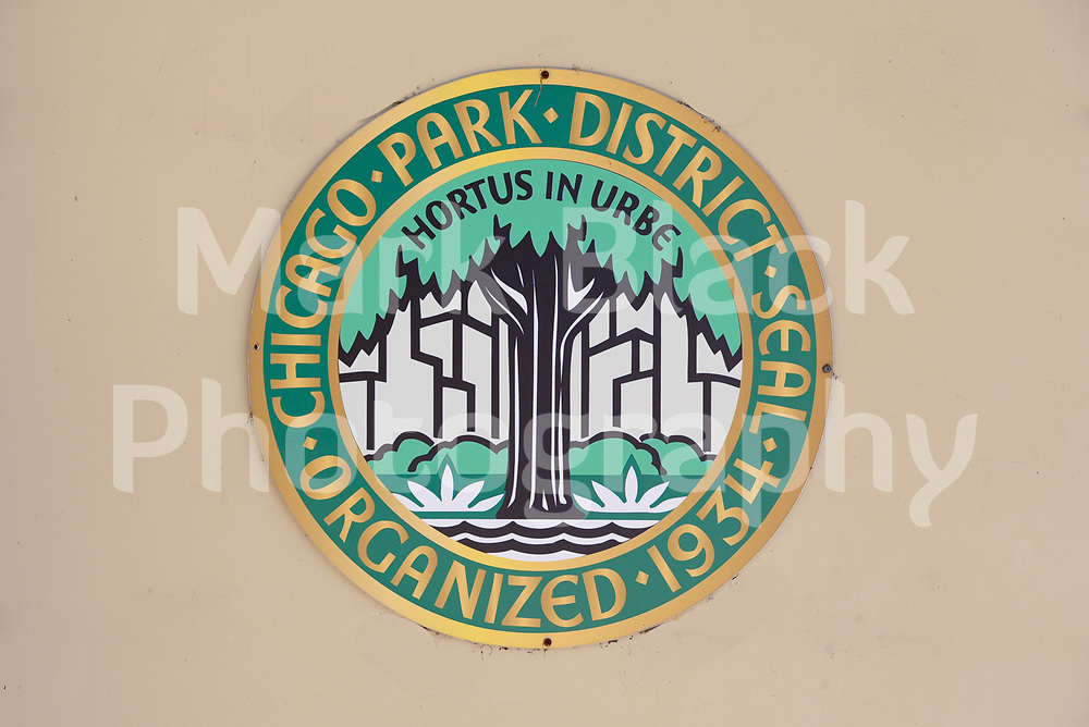 The Chicago Park District logo in Chicago, Illinois.<br /> Photo by Mark Black