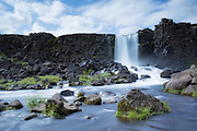 Öxarárfoss is a small waterfall in Þingvellir National Park, Iceland   Oxararfoss er en liten foss i Tingvellir nasjonalpark på Island.