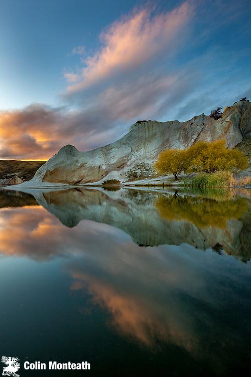 Blue lake reflection,  autumn, St Bathan's, Central Otago.