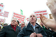 06/03/2013. Dermot Moran Clonmoylan protesting near the court house in Loughrea where turf cutters where up on charges in relation to the cutting of turf in an area of conservation. Picture:Andrew Downes.