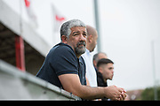 Northern Cypriot fan. Northern Cyprus 3 v Padania 2 during the Conifa Paddy Power World Football Cup semi finals on the 7th June 2018 at Carshalton Athletic Football Club in the United Kingdom. The CONIFA World Football Cup is an international football tournament organised by CONIFA, an umbrella association for states, minorities, stateless peoples and regions unaffiliated with FIFA.