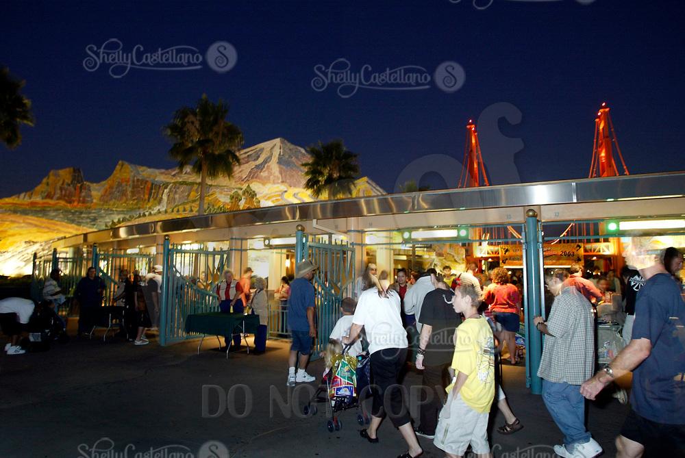 Jul 01, 2003; Anaheim, California, USA; Entrance to the Disney's California Adventure Theme Park at night. Mandatory Credit: Photo by Shelly Castellano/ZUMA Press. (©) Copyright 2003 by Shelly Castellano