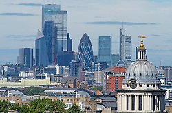 ©Licensed to London News Pictures 05/08/2020     Greenwich, UK. A view of the City of London from Greenwich park, Greenwich, London as the sunny August weather continues with temperatures to get hotter for the weekend. Photo credit: Grant Falvey/LNP