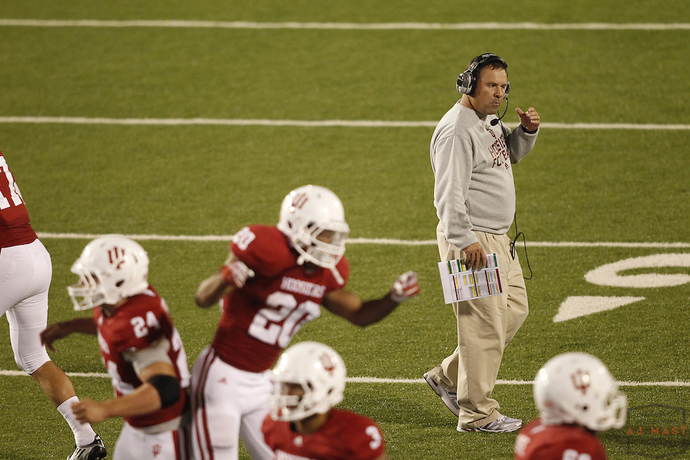10 September 2011: Indiana Hoosiers head coach Kevin Wilson as the Virginia Cavaliers played the Indiana Hoosiers in a college football game in Bloomington, Ind.