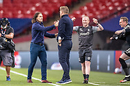 Wycombe Wanderers Manager Gareth Ainsworth and Oxford United Manager Karl Robinson  at full time after Wycombe Wanderers won the game during the EFL Sky Bet League 1 Play Off Final match between Oxford United and Wycombe Wanderers at Wembley Stadium, London, England on 13 July 2020.
