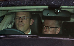 © Licensed to London News Pictures. 20/02/2016. London, UK. MICHAEL GOVE MP (right) leaving a 'Vote Leave' meeting in Westminster after announcing he will vote against UK membership of the EU. . Photo credit: Ben Cawthra/LNP