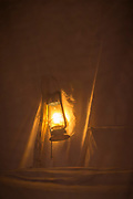 Close up of lamp in tent at night, Chikoko Tree Camp, South Luangwa National Park, Zambia