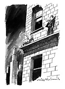 (A man standing on the ledge of a high building is confronted by angry looking ram)