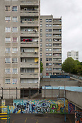 A 12 storey tower block on Thamesmead Estate, social housing run by the Peabody Trust, Greenwich & Bexley borough, London, UK.