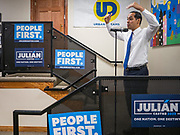 17 OCOTBER 2019 - DES MOINES, IOWA: JULIÁN CASTRO, former Secretary of Housing and Urban Development for President Barack Obama, talks to a group of Iowa voters at Urban Dreams, a human services agency for under served communities in Des Moines. Castro is visiting Iowa to support his bid to be the Democratic nominee for the US Presidency. Iowa traditionally hosts the the first selection event of the presidential election cycle. The Iowa Caucuses will be on Feb. 3, 2020.                  PHOTO BY JACK KURTZ