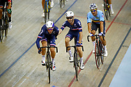 Men Madison, Morgan Kneisky and Benjamin Thomas (France) during the Track Cycling European Championships Glasgow 2018, at Sir Chris Hoy Velodrome, in Glasgow, Great Britain, Day 5, on August 6, 2018 - Photo luca Bettini / BettiniPhoto / ProSportsImages / DPPI<br /> - Restriction / Netherlands out, Belgium out, Spain out, Italy out -