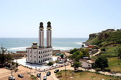 DAKAR, SENEGAL - OCTOBER 12: A view of Mosque of the Divine in Dakar, Senegal on October 12, 2018. The Mosque of the Divine was built near a beach by Mohamed Gorgui Seyni Gueye (1926–2007), a holy man who claimed to see the mosque in a dream. Friday prayers at the Mosque are performed in white clothing. Alaattin Dogru / Anadolu Agency    BRAA20181013_082 Dakar Sénégal