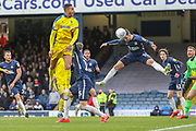 Southend United defender Rob Kiernan (15) heading the ball during the EFL Sky Bet League 1 match between Southend United and AFC Wimbledon at Roots Hall, Southend, England on 16 March 2019.