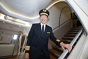 Airbus A380 first commercial flight - Singapore Airlines SQ 380 Singapore-Sydney on October 25, 2007. Captain Ronald Ting on the forward stairway.
