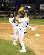 CHICAGO - SEPTEMBER 25:  Tim Anderson #7 and Yolmer Sanchez #5 of the Chicago White Sox celebrate after the game against the Cleveland Indians on September 25, 2019 at Guaranteed Rate Field in Chicago, Illinois.  (Photo by Ron Vesely)  Subject:   Tim Anderson; Yolmer Sanchez