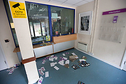 © Licensed to London News Pictures. 07/08/2011. Tottenham, UK. Tottenham Magistrates Court following riots and looting. Windows are smashed and the main doorway and foyer have been vandalised. Photo credit : Joel Goodman/LNP