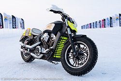 Oleg Goryunov's Indian Scout ice racer at the Baikal Mile Ice Speed Festival. Maksimiha, Siberia, Russia. Thursday, February 27, 2020. Photography ©2020 Michael Lichter.